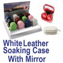 White Leather Contact Lens soaking Case With Mirror