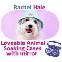 White Puppy In a Hat Rachel Hale Contact Lens Soaking Case