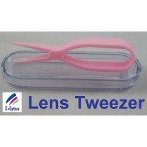 Pink Scissor Style Tweezers For Handling Contact Lenses